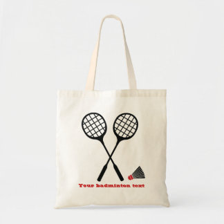 Badminton gifts, racquet and shuttlecock custom tote bag
