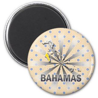 Bahamas Flag Map 2.0 6 Cm Round Magnet