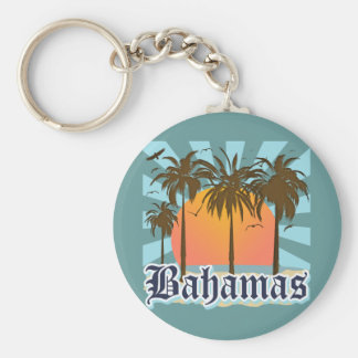 Bahamas Islands Beaches Basic Round Button Key Ring