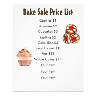 Bake Sale Price List Chocolate Cupcake and Cookies Flyer