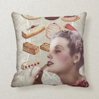 bakery cupcake pastry retro lady paris throw pillow