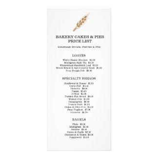 Bakery goods price list rack card