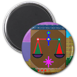 BALANCE Ancient Vintage Justice Equility SPIRITUAL 6 Cm Round Magnet