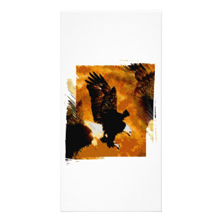 Bald American Eagle Landing Personalized Photo Card