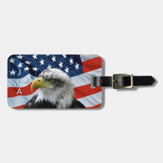 Bald Eagle American Flag Monogram Luggage Tag