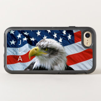 Bald Eagle American Flag Monogrammed OtterBox Symmetry iPhone 8/7 Case