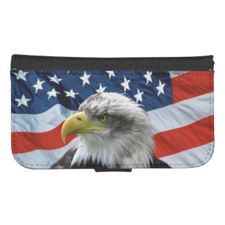 Bald Eagle American Flag Samsung S4 Wallet Case