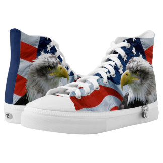 Bald Eagle and American Flag High Tops Printed Shoes