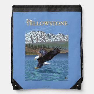 Bald Eagle Diving - West Yellowstone, MT Drawstring Bag