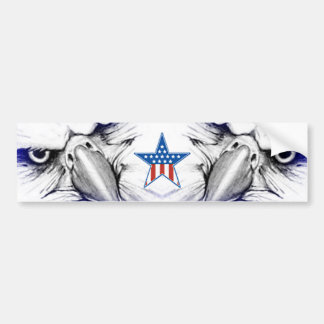 Bald Eagles with an American Flag Star Bumper Sticker
