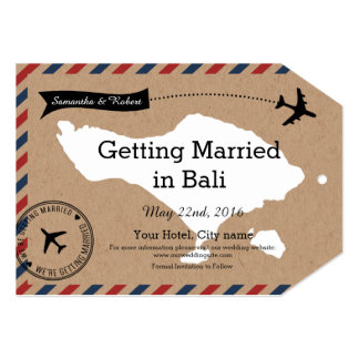 Bali Airmail Kraft Luggage Tag Save The Dates 13 Cm X 18 Cm Invitation Card