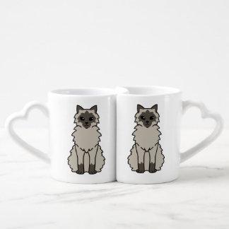 Balinese Cat Cartoon Coffee Mug Set