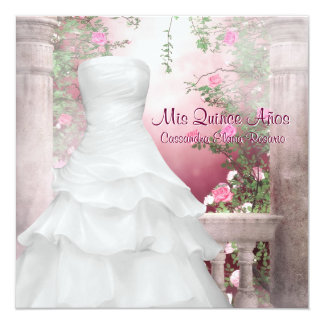 Ball Gown Pink Rose Quinceanera 13 Cm X 13 Cm Square Invitation Card