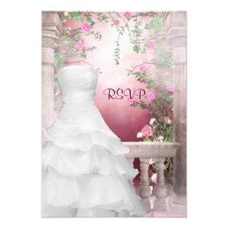 Ball Gown Pink Rose Quinceanera RSVP Custom Invites