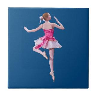 Ballerina Dancing on Blue Tile