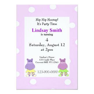 Ballerina Hippo Party Invitation