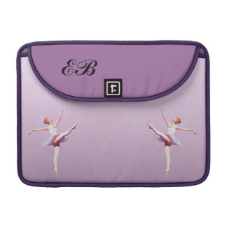 Ballerina in Pink and Lavender, Monogram Sleeve For MacBooks