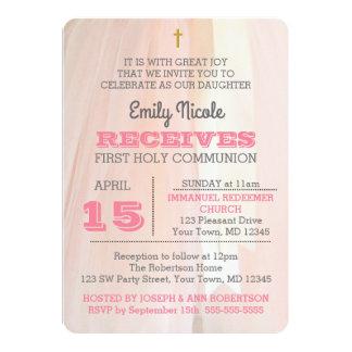Ballerina Pink First Holy Communion Invitation