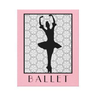 Ballerina Silhouette on a Heart Mandala Pattern Canvas Print