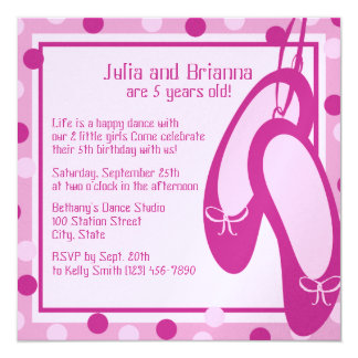Ballerina Slippers/ Birthday 13 Cm X 13 Cm Square Invitation Card