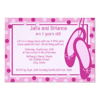 Ballerina Slippers/ Birthday 13 Cm X 18 Cm Invitation Card