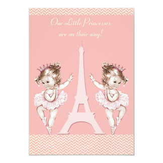 Ballerina Twins Eiffel Tower Chevrons Baby Shower 5x7 Paper Invitation Card