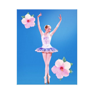 Ballerina  with Pink Hibiscus Flowers Canvas Print
