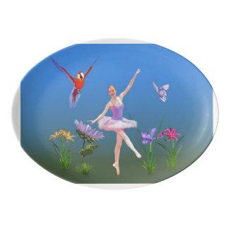 Ballet Fantasy, Flowers, Parrot, Butterfly Porcelain Serving Platter