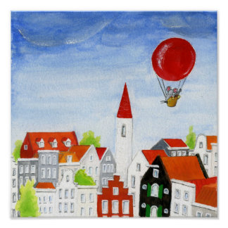 Balloon Mouse & Roofs Poster
