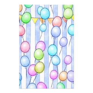 Balloons On Blue Stripes Scrapbook Paper Personalized Stationery