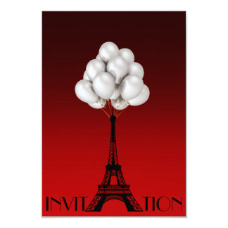 Balloons Paris Eiffel Tower Glam Chic Red 9 Cm X 13 Cm Invitation Card