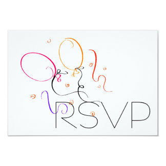 Balloons RSVP 9 Cm X 13 Cm Invitation Card