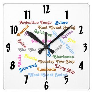 Ballroom Dance Styles Square Wall Clock