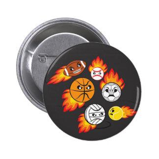 Balls on fire 6 cm round badge