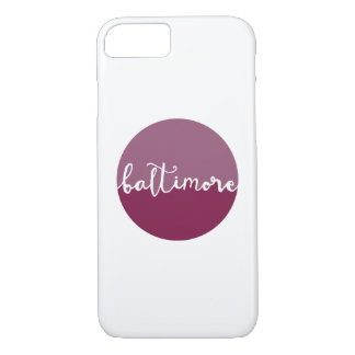 Baltimore, Maryland | purple ombre calligraphy iPhone 7 Case