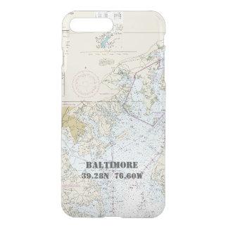 Baltimore MD Nautical Chart Latitude Longitude iPhone 8 Plus/7 Plus Case