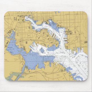 Baltimore, MD Nautical Harbor Chart Mousepad