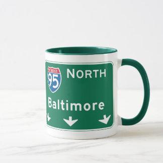 Baltimore, MD Road Sign Mug