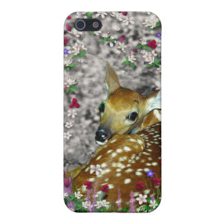Bambina the White-Tailed Fawn in Flowers I iPhone 5 Case