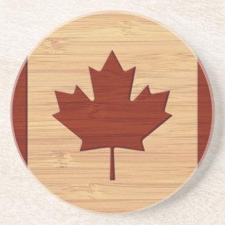 Bamboo Look & Engraved Vintage Canada Flag Coaster