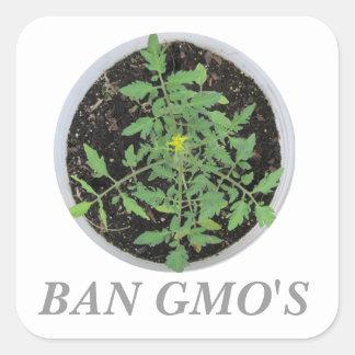 Ban GMO's Heirloom Tomato Plant Peace Sign Sticker