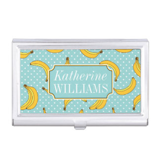 Bananas And Polk Dots   Add Your Name Business Card Holder