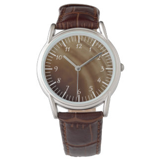 Banded Agate, Brown, Cool Nature Stone Wristwatch