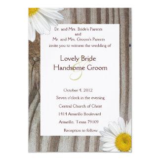 Banded Wood Shasta Daisy Wedding Invitation