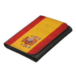 Bandera de España - Cool Grunge Spain Flag Leather Tri-fold Wallet