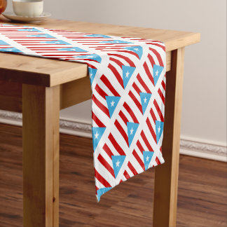 Bandera Independencia Puerto Rico Short Table Runner