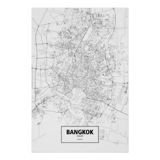 Bangkok, Thailand (black on white) Poster