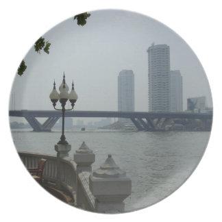 Bangkok Thailand Chao Phraya River Overlook Plate