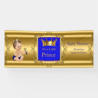 Banner Prince Baby Shower Blue Gold Brunette Baby