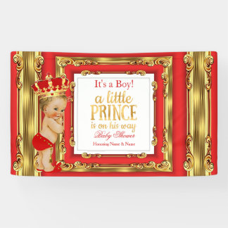 Banner Prince Baby Shower Regal Red Gold Blonde